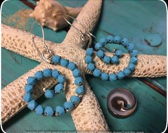 Turquoise Earrings, Scroll Earrings, Wire Wrapped Earrings, Swarovski Earrings, Swarovski Turqoise Beaded Scroll Earrings Fine Silver