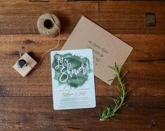 Watercolor Wedding Shower Invitation, DIY, Rustic, Bohemian, Custom, coin shower