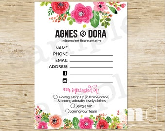 Agnes and Dora Contact Form, Agnes & Dora Consultant Contact Info Sheet, Fill In Postcard 5x7 / 4x6, Floral Marketing Post Card PRINTABLE