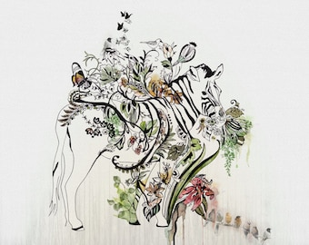 Zebra Art, Zebra Painting, Watercolor Print, Animal Print, Zebra Print, Wall Art Prints, Animal Watercolor