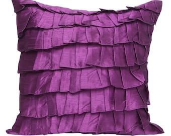 Light Purple Ruffles Pillow Cover Ruffle Euro Sham Cover Solid Purple Texture Pillow 14x14 16x16 18x18 20x20 22x22 24x24 26x26