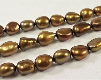 7 x 8-9 mm Copper Color Rice Nugget Freshwater Pearl Beads, Genuine Freshwater Pearl Nuggets, Cultured Freshwater Pearl (308-NRC0709)