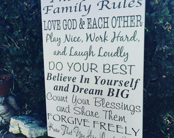 CUSTOM Family Rules Sign, PERSONALIZED In This House We Do Wooden Sign, Family Rule Wood Sign, PERSONALIZED Family Values Sign, Family Gifts