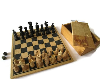 Vintage Wooden Chess Set Board Box Complete 1960s Old Handmade Retro Sweden Chess Game 27 x 27 cm / 10.7 x 107 inch Craft Art Supplies