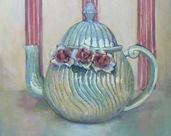 """Impressionist Teapot Painting, Still Life Painting 16x16""""Original Art,  """"Antique French Teapot"""" by Carol Schiff, Free Shipping in US"""