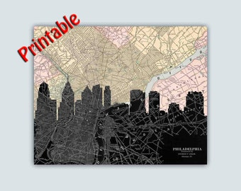 PRINTABLE Philadelphia Skyline, Personalized Skyline Print, Philadelphia Decor, Philadelphia Art, Wedding Gift, Digital File You Print