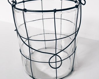 Metal and glass candle holder lantern