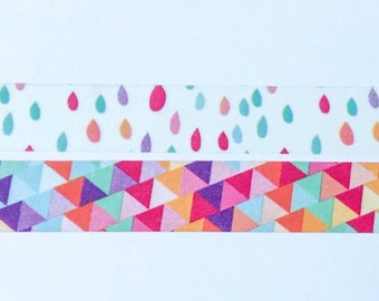 "Rainbow Raindrops and Triangles Washi Tape 24"" Sample Set Bobbins - geometric"