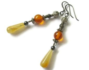 Vintage boho earrings, long earrings, yellow earrings