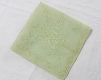 Vintage Pale Green Handkerchief Hanky with a Damask Design