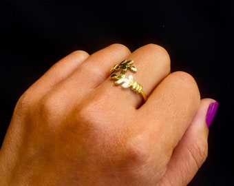 Brass Gold Oak Leaf Ring