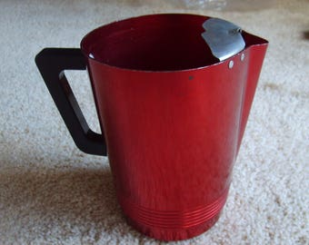 Red Aluminum Pitcher by Regal Ware, Mid Century Modern
