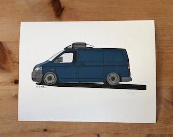 Volkswagen Transporter Van Illustration Print