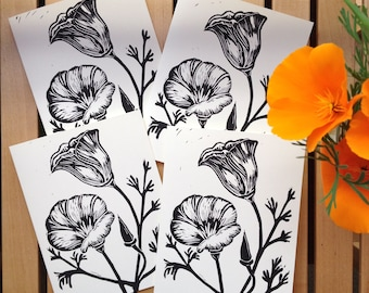 Block Print California Poppies Greeting Cards Black and White- Set of Four