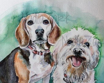 Custom Watercolor Two Dog Portrait, Pet Portrait from Photo, Custom Pet Portrait