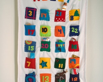 Advent Calendar Personalized Whimsical Colorful Fabrics fill yourself.