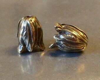 Small Tulip Bead Cap Antique Brass 11mm x 9mm Qty 2