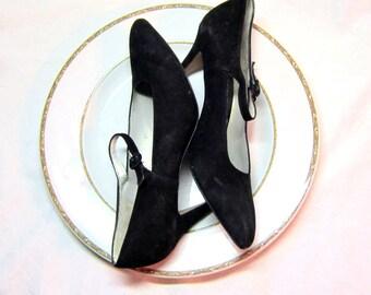 Vintage Women's Size 8  Shoes Black Pumps Black Suede Heels Pumps Evening Dress Shoes  Size 8 Women's Shoes Strapped Pumps High Heeled Pumps