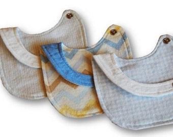 Flannel Newborn Side Snap Bib Set, Baby Boy Shower Gift, Toddler, Zig-Zag, Striped,  Blue Chequered, White, Yellow, Neutral Bib, 6 Month Bib