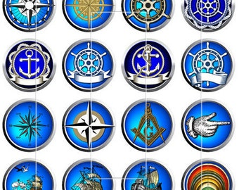 "Nautical Pins, Nautical Magnets, 1"" Inch Nautical Flatbacks 12 Ct., Hollow Backs, Cabochons"