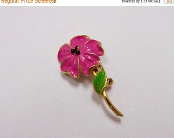 On Sale Vintage Pink Enameled Flower Pin Item K # 387