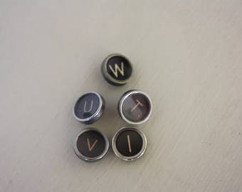 Set of Five Typewriter Keys for collage, crafts or jewelry