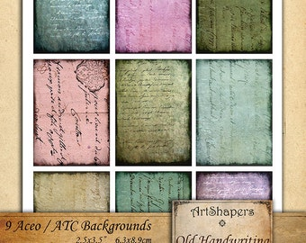 OLD HANDWRITING  - Aceo backgrounds, jewelry holders,instant download paper,digital collage sheet DCS89