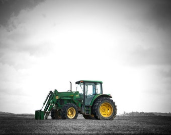 Farm Tractor Photography, John Deere Green Art Print,  Boys Bedroom Decor Black and White, Country Home, Farmhouse Photo