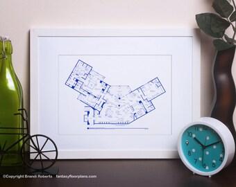 Frasier Apartment Poster - TV Show Floor Plan - BluePrint Art for Penthouse Home of Frasier Crane - Memorabilia for Frasier fans!
