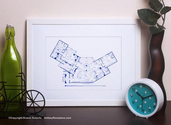 Frasier apartment poster tv show floor plan blueprint art malvernweather Images