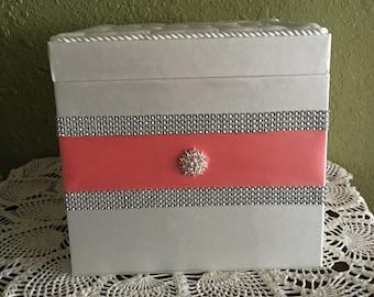 Keepsake Box, Wedding Money Box, Wedding Card Box, Gift card box, Bridal shower card box, Wishing Well,  Coral, Ivory, Rhinestone Mesh Trim