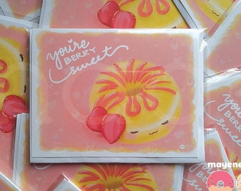 strawberry shortcake donut pun card, size A2