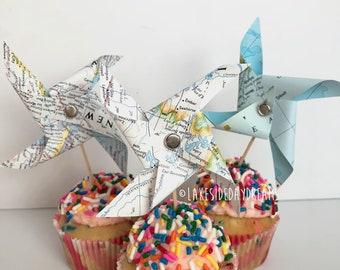Map Pinwheel Cupcake Topper, Map Pinwheel Cake Toppers, Map Pinwheel Baby Shower Decor, Party Decor