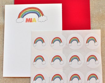 Rainbow Personalized Name Stationery Letterhead Set with stickers