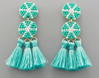 Turquoise & White Beaded Tassel Earrings