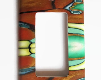 Light Switch Cover, Rocker Switchplate, Single Switch Plate, Multi-Color with Copper and Green Predominating