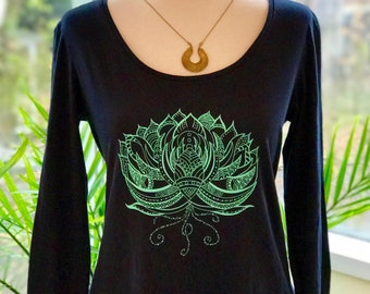 Lotus flower long sleeve- yoga shirt-yoga tank-lotus tank-lotus flower-yoga tops-namaste shirt- long sleeve-lotus design