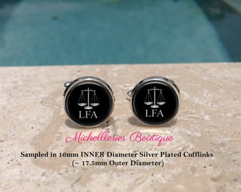Scales of Justice Personalized Mens Cufflinks,Scales of Justice Cufflinks,Monogram Mens Cufflinks,Lawyer,Attorney,Black, MB307