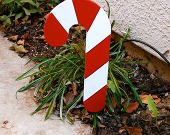 Candy Cane Outdoor Christmas Holiday Yard Art Sign Small