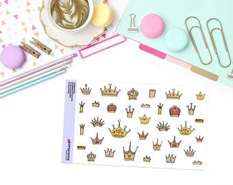 DOODLE CROWNS Paper Planner Stickers! - DOOD117