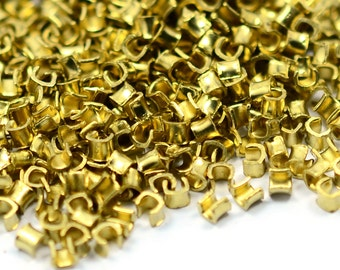 1000 Pieces Raw Brass 2 mm Crimp end Bead Connector