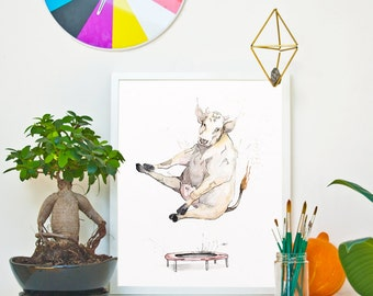 TRAMPOLINE - The Cow *Limited Edition Giclée Print on Watercolour Paper - 300gsm.