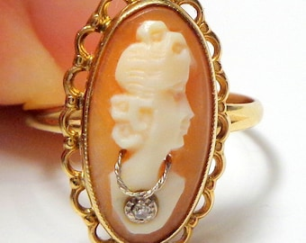 Size 6.25, Vintage Cameo Ring, 10k Solid Gold Ring, Hand Carved Cameo, Yellow Gold Filigree, Carved Conch Shell Cameo, Diamond Accent