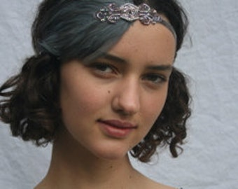 Gray 1920s headband, Great gatsby headpiece,1920s flapper headband, bronze gray beaded Fascinator daisy Buchanan, Stretch Elastic Velvet