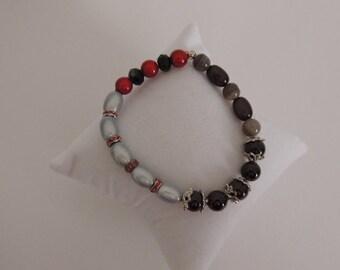 Grey, red, black, elastic bracelet