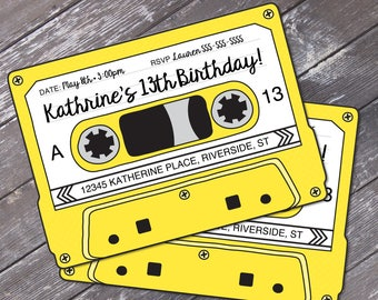 Cassette Tape Invitations - Retro Party, 80s Party Invitation,Mixtape Invite,Yellow | Editable Text - Instant Download DIY Printable PDF Kit