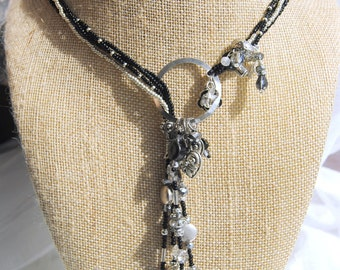 Black and Silver Lariat Necklace