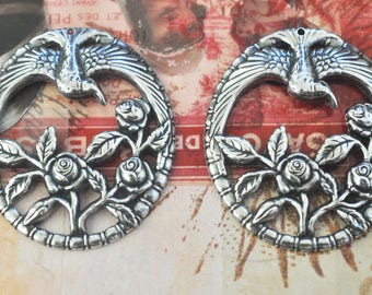 TWO Bird Pendants with Roses, Sterling Silver Finish, Brass Stampings made in the USA for Jewelry Making