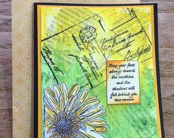 Handmade Mixed Media Daisy Card