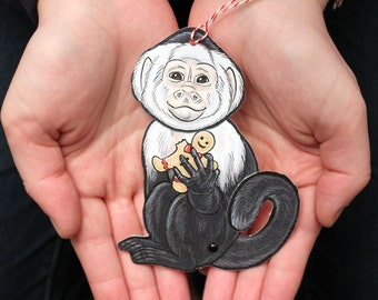 Capuchin Monkey Jointed Gift Tag or Christmas Ornament, Mini Rainforest Animal Paper Doll
